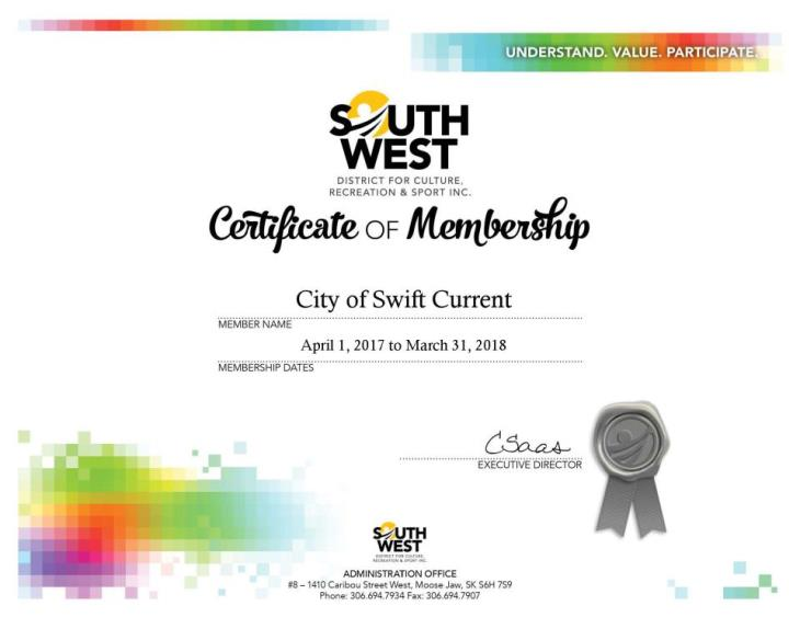 SWDCRS Certificate